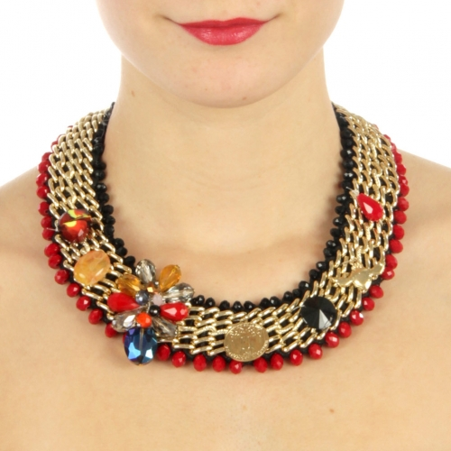 wholesale N50 Beaded w/chain necklace Red fashionunic