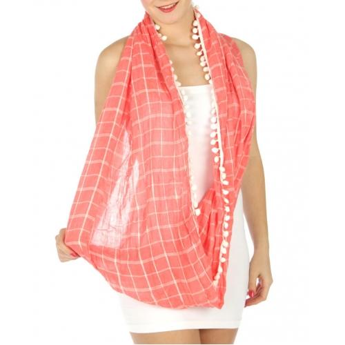 wholesale G26 Windowpane scarf w/pom pom Infinity MD