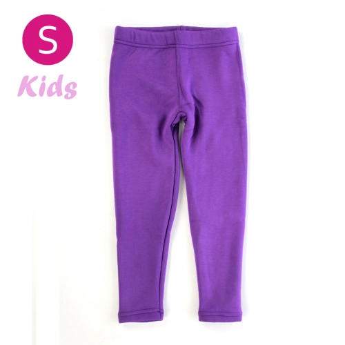 wholesale Q34 Kids cotton brushed leggings Purple S