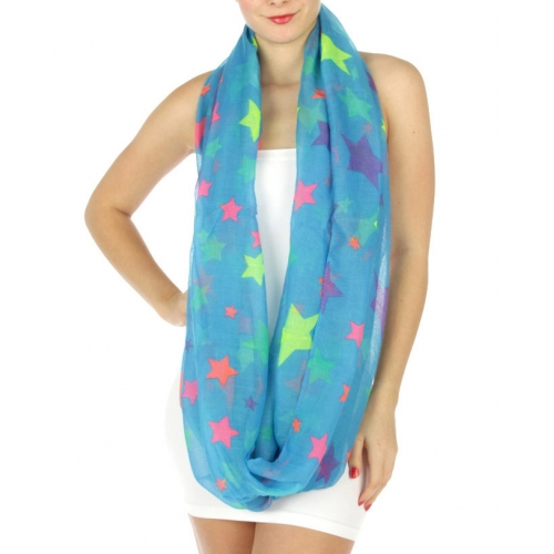 wholesale H14 Neon star infinity scarf Turquoise