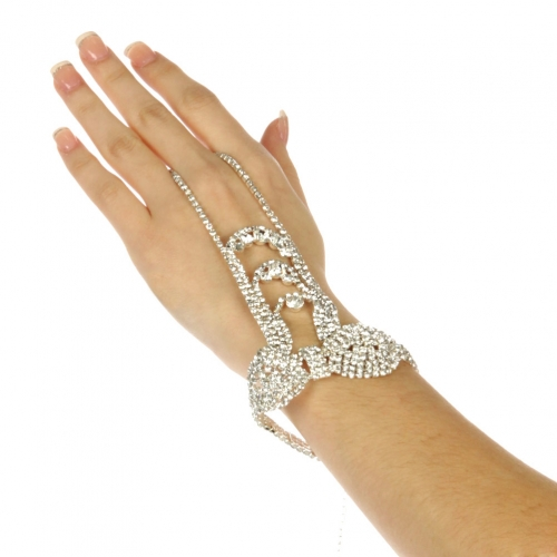 wholesale N37 Bow rhinestone bracelet n ring Silver/Clear