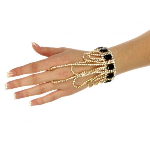 wholesale N49 Loop rhinestone bracelet n ring Gold/Black