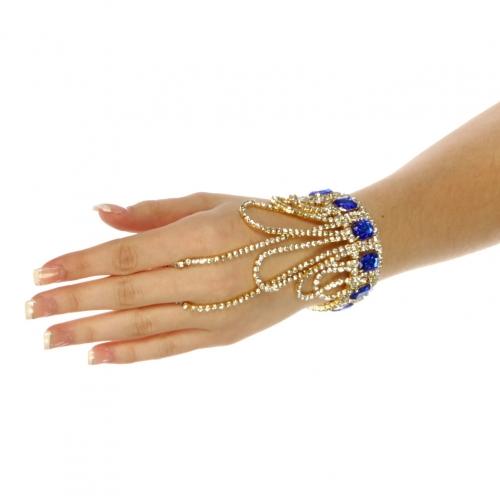 wholesale N49 Loop rhinestone bracelet n ring Gold/Sapphire blue