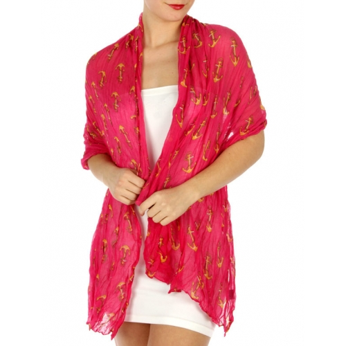 wholesale H33 Allover anchor wrinkle scarf Fuchsia