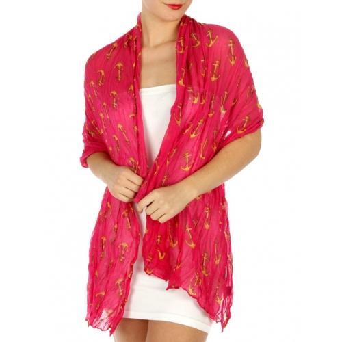 wholesale H33 Allover anchor wrinkle scarf Fuchsia
