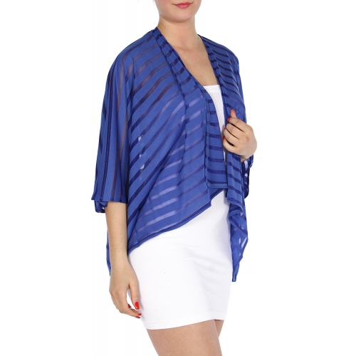 wholesale H39 Jersey see through stripe bolero Blue