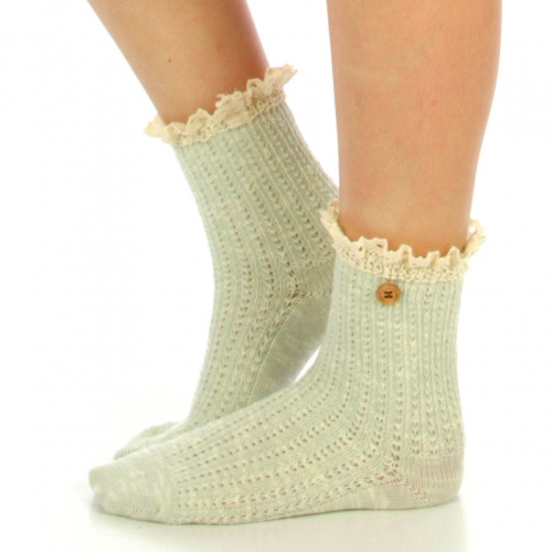 wholesale N01 Marled cotton lace top ankle socks Black