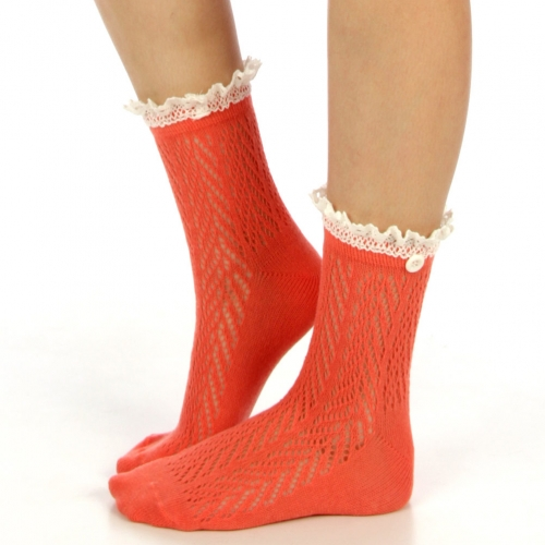 wholesale N01 Cotton crochet lace top ankle socks Baby blue