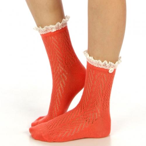 wholesale N01 Cotton crochet lace top ankle socks Baby blue