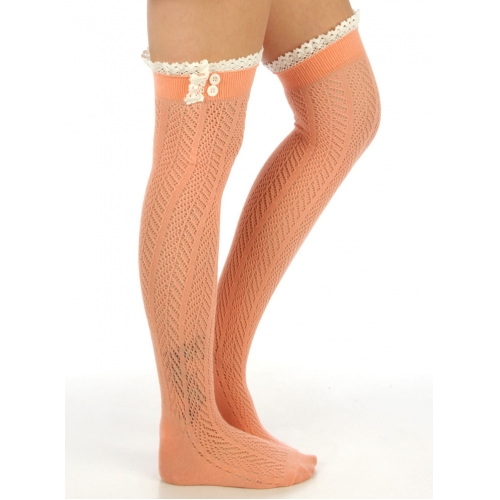 wholesale L05 Cotton lace top Knee high socks Baby blue