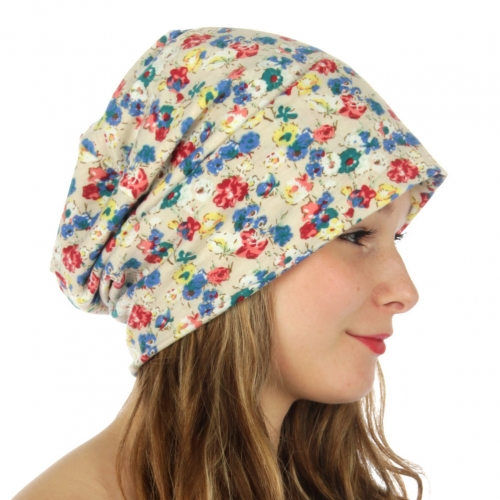wholesale G03 Ditsy floral print 2 layer beanie Beige