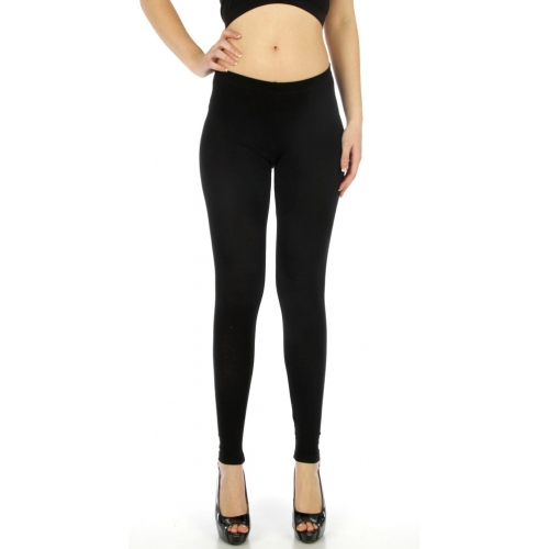 wholesale A18 Solid long cotton leggings Black S