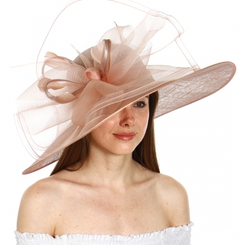wholesale BX60 Loop feather sinamay dress hat Black