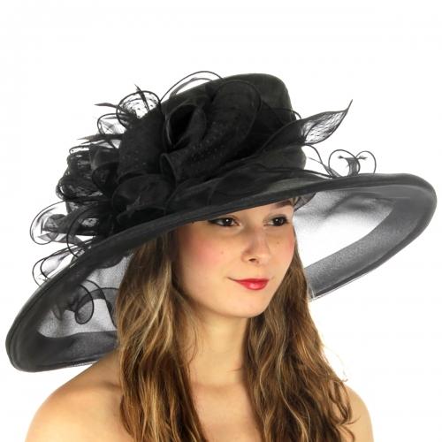 wholesale BX50 Feather bow organza dress hat Black