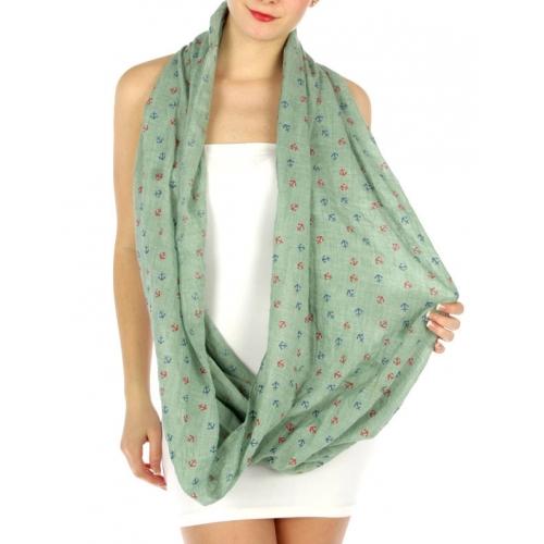 wholesale K13 Cotton viscose anchor infinity scarf Mint