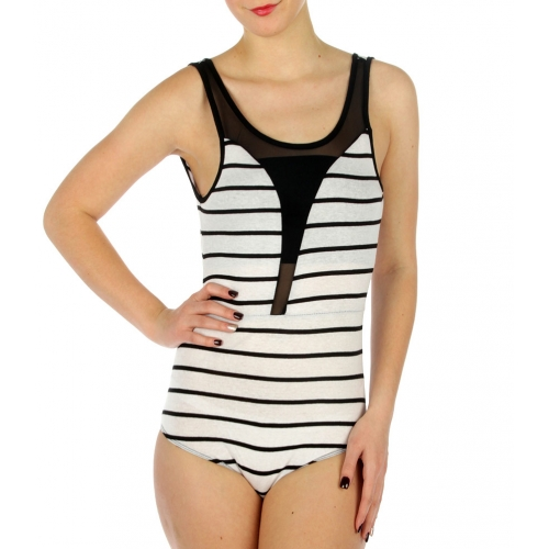 wholesale G31 Cotton mesh front V back bodysuit WH/BK