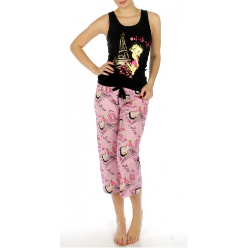 wholesale K53 Cotton betty boop ohlala capri set BK
