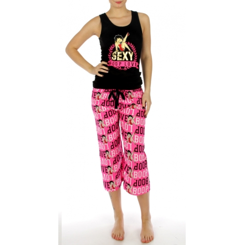 wholesale K15 Cotton love betty boop capri set BK