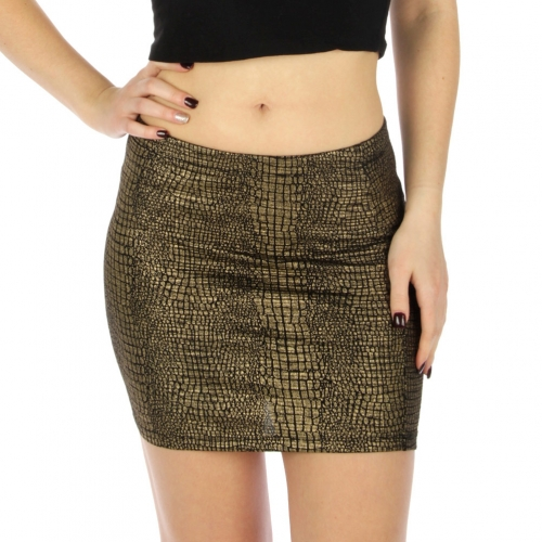 Wholesale A16 Snake skin mini skirt  gold foil Black