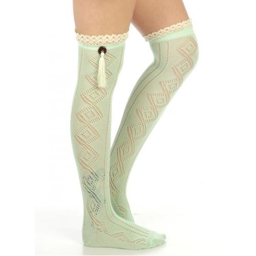 wholesale N06 Cotton blend tassel knee high socks Emerald