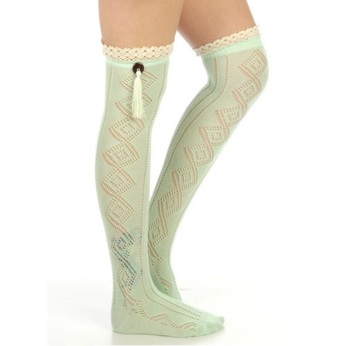 wholesale N06 Cotton blend tassel knee high socks Emerald