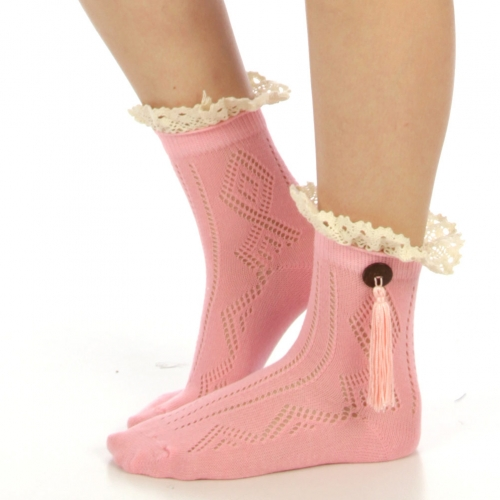 wholesale N02 Cotton blend lace button tassel ankle socks Emerald
