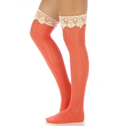 wholesale N00 Cotton knee high w/ crochet lace socks Mint