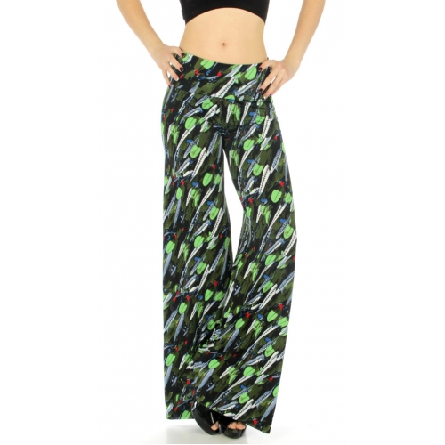 wholesale WA00 Leaf print palazzo pants fashionunic