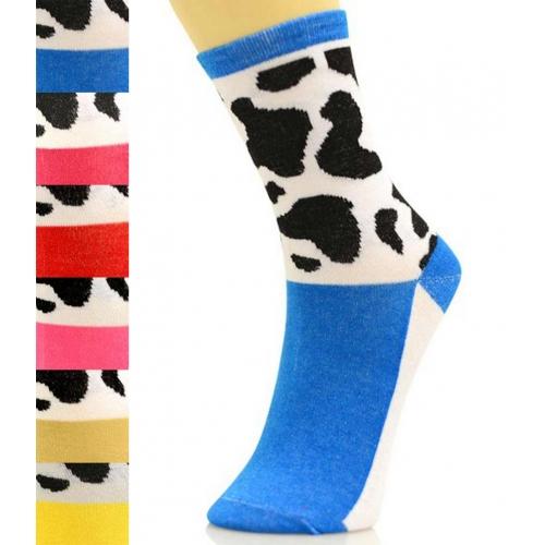 wholesale K58 Dozen cow print crew socks fashionunic