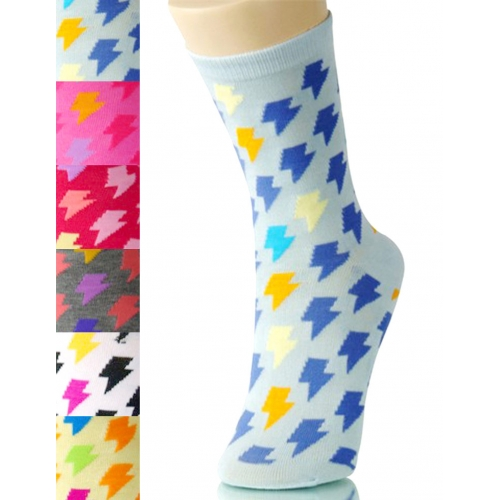 wholesale K58 Dozen lightening bolt print crew socks
