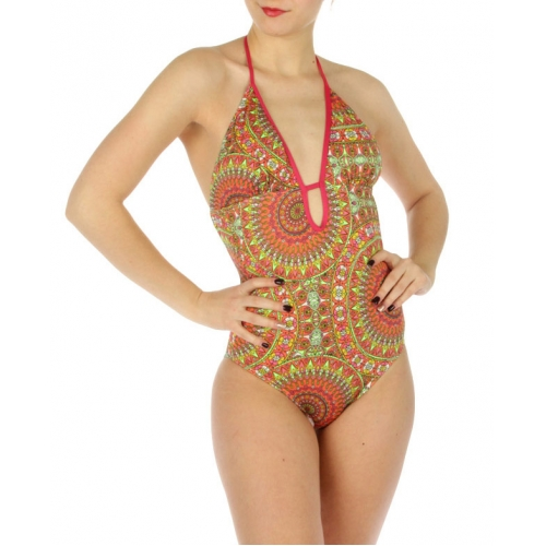 wholesale K18 Abstract flowers swimsuit Coral