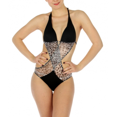 wholesale K71 Cheetah print swimsuit Black/White