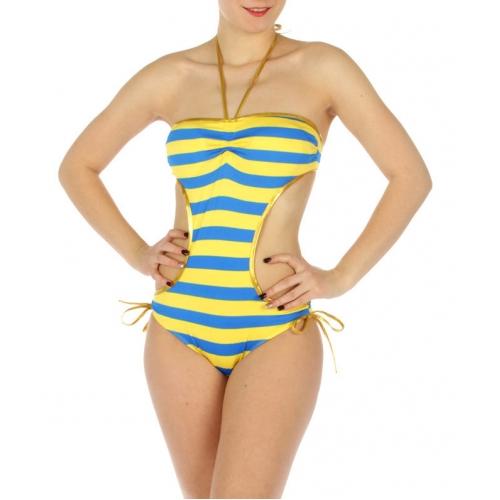 wholesale K20 Striped gold trim swimsuit YL/Blue