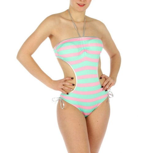 wholesale K20 Striped silver trim swimsuit Pink/Green