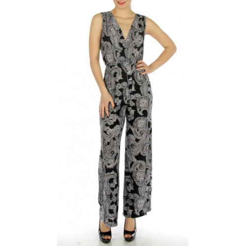 wholesale K16 Paisley print jumpsuit Black S fashionunic