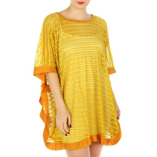 wholesale J03 Stripe net poncho Coral fashionunic