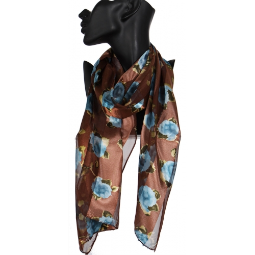 wholesale L09 Satin rose scarf  BK fashionunic
