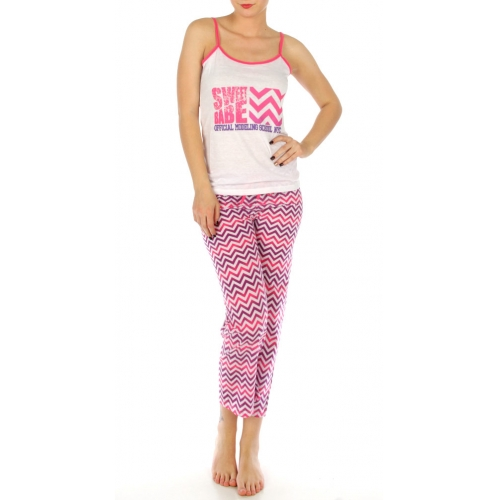 wholesale K52 Chevron print cotton capri/tank set Pink