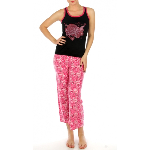 wholesale K52 Flower print cotton pajama set Pink
