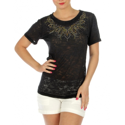 wholesale Neckline rhinestone burnout cotton Tee BK