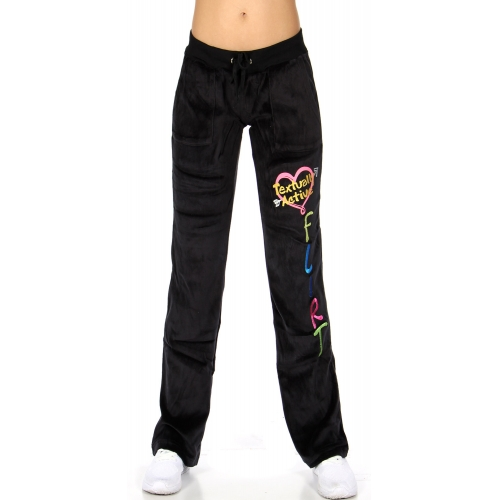 wholesale H37 Embroidered cotton velour pant Black