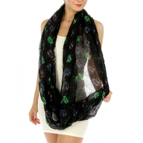 wholesale K61 Neon lady bugs infinity scarf Black