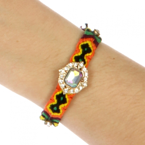 wholesale N45 Multicolored woven cord with crystal bracelet GDMT