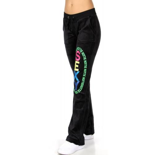 wholesale H37 11 Embroidered cotton velour pants Black