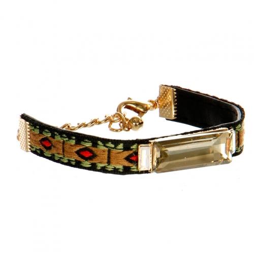wholesale N45 Woven cord with gemstone bracelet GDBR