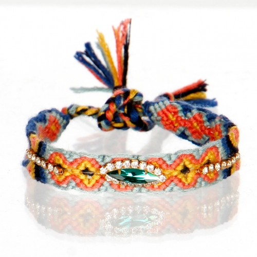 wholesale N45 Woven cord with crystal bracelet GDMT
