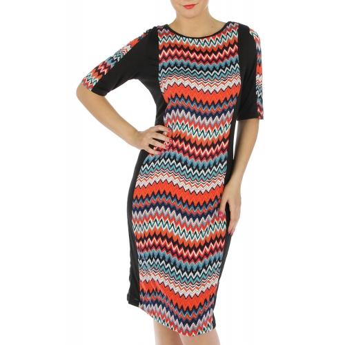 wholesale K05 zigzag pattern dress Orange 2X fashionunic