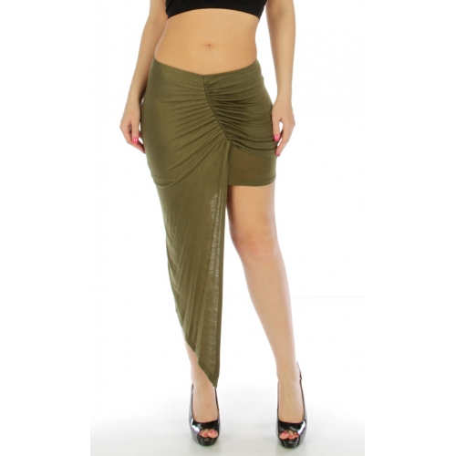 Wholesale K17 Side wrap skirt Olive fashionunic