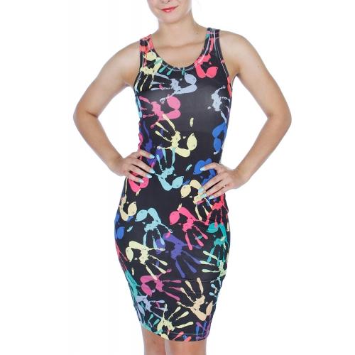 wholesale K07 Multicolor palm sublimation dress Black M