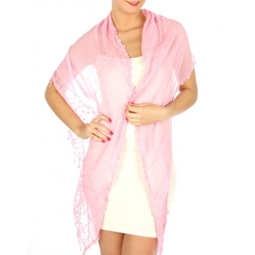 wholesale K34 Webbed edge cotton blend scarf Pink
